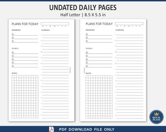 Daily Undated Inserts, Half letter, Hourly 7am, 9pm, PDF