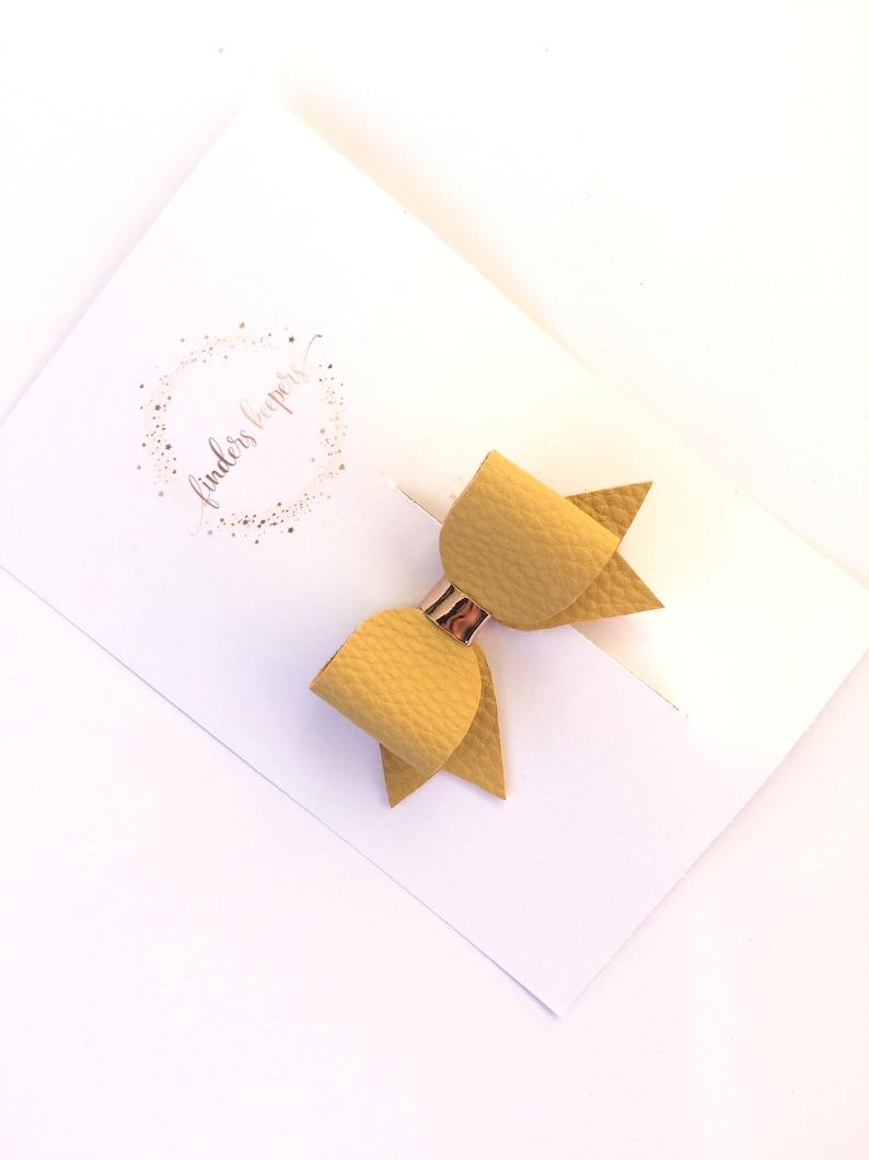 small hair clip pretty bow hair bow Mustard bow fringe hair clip mini hair clips