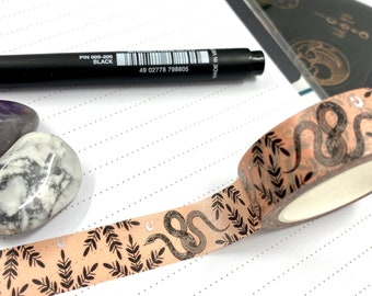 Snake floral design Washi tape in peach colour with foil stars