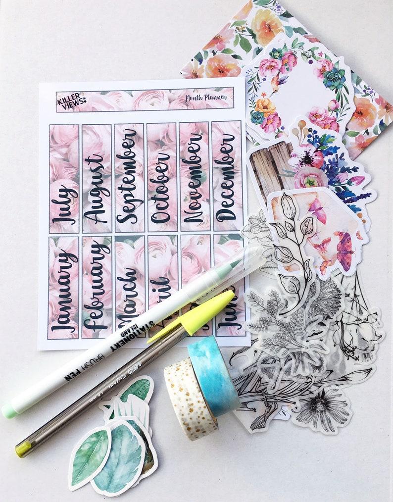 Botanical Plant and flower Bullet Journal Sticker Set