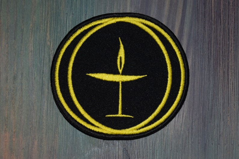 Flaming Chalice Unitarian Universalist patch for jacket patch must be sewn patch embroidery logo Flame shirt womens men mens gift Tall pin