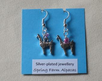 Llama or alpaca earrings, beads, silver-plated