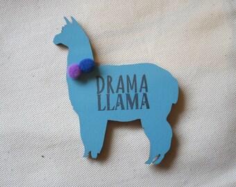 Drama Llama fridge magnet - wooden, hand-painted