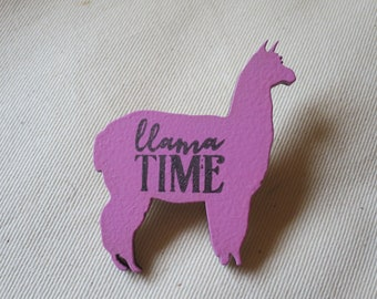 Llama badge - colourful, hand-painted and hand-stamped