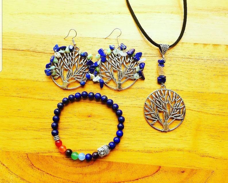 Lapis Lazuli Green Opal Tree of Life Earrings Lapis Lazuli Rutilated Quartz Tree of Life Pendant Lapis Lazuli Chakra Buddha Bracelet
