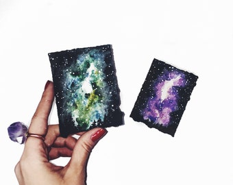 a78c89213f71e Items similar to Mini galaxy, nebula watercolor painting, 3x3 inches ...