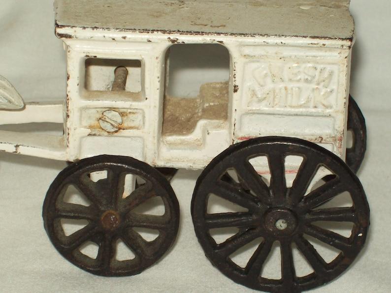 Vintage ~ Cast Iron ~ Fresh Milk Wagon with Horse  ~ Split Casting