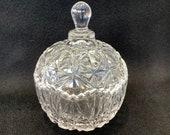 vintage round glass jar for storing candies or jam, marmelade, honey, sugar