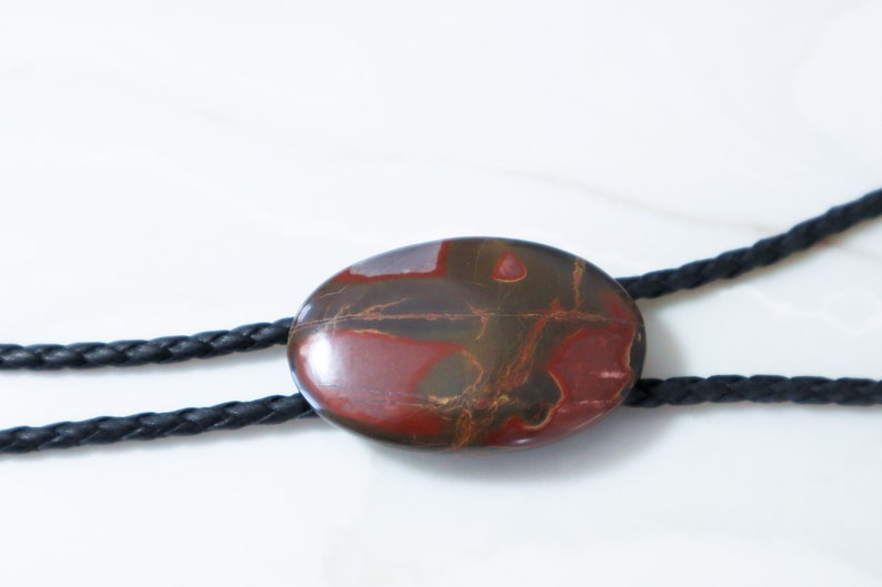 Cherry Creek Jasper bolo tie with vegan leather cord