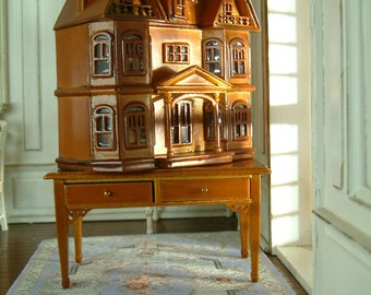 Blue White French Villa Le Chateau Cabinet Hand Painted 1/12 Scale Luxury