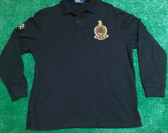 Emerald Green and Navy Striped Polo Shirt With Shamrock Crest Design