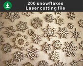 Set of 200 snowfske, Snowflake Clipart, Digital Snowflakes, For Laser, Plotter Cutting, Printable, Commercial Use, DXF Dwg Ai Svg, Download