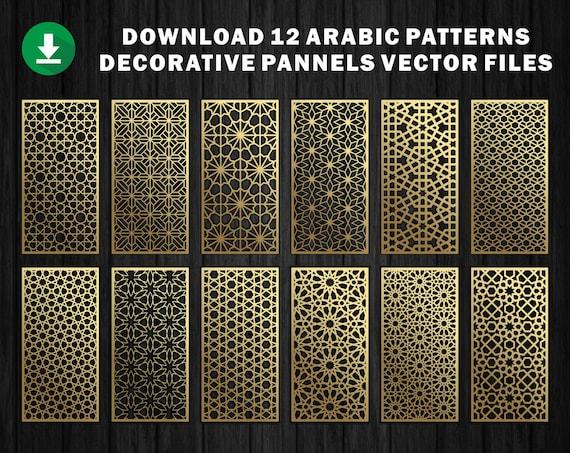 12 Arabic Pattern Panel Templates Vector File. Les meilleurs ornements vectoriels Fichier CNC, Fichier de coupe laser (fr) Dxf, Svg, Jpg, Cdr, Eps Vector