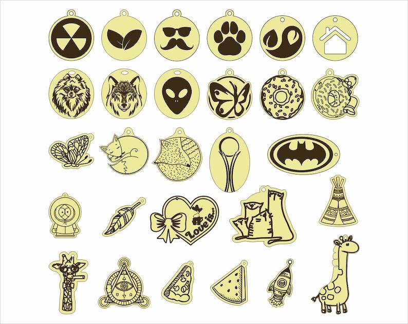 digital geometric vector Download Universal set of keychains pendantsDigital Cut Files Laser Cutting Templates DXF Dwg Ai Svg