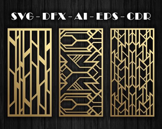 24 motifs d'art déco pour cloisons décoratives, panneau, écran | CNC | Laser Cutting File Dxf, Svg, Jpg, Cdr, Eps Vector files.