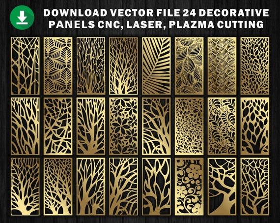 24 ornements naturels pour l'écran décoratif du panneau de partitions  CNC - France Laser Cutting File Dxf, Svg, Jpg, Cdr, Eps Vector fichiers.