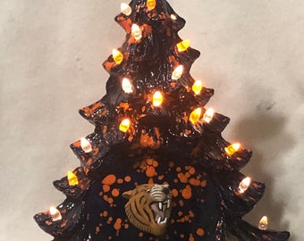 Ceramic Glazed Auburn Tigers Christmas Tree