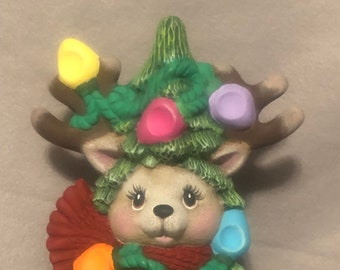 Reindeer Christmas Tree Ceramic Art