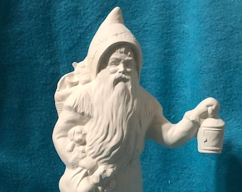 Old Time Santa with Puppiesand Lantern ready to paint