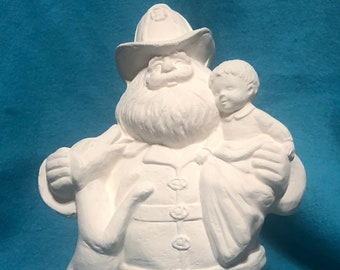 Fireman Santa Ceramic Bisque ready to paint