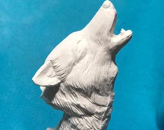 Driftwood Wolf Ceramic Bisque