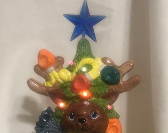Glazed Lighted Reindeer Christmas Tree