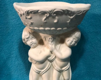 Cherub Soap Dish Ceramic Bisque ready to paint