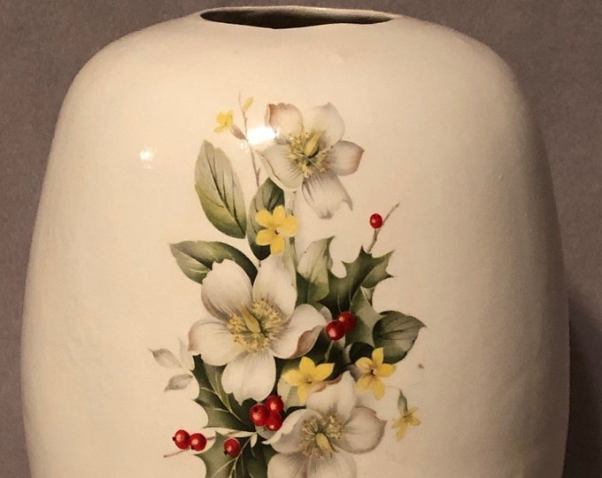 Ceramic Egg Vase glazed inside and out with Floral Decal
