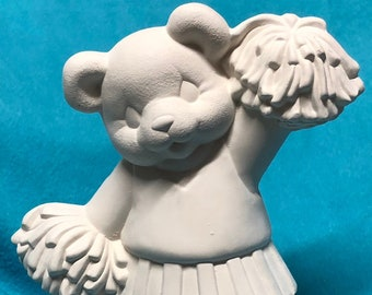 Ceramic Bisque Cheerleader Bear