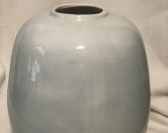 Sheer Blue Glazed Ceramic Egg Vase