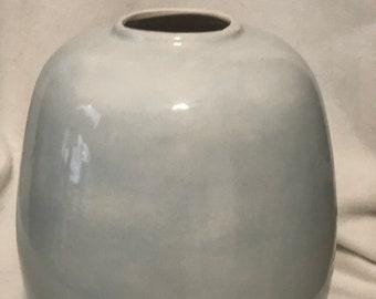 Sheer Blue Glazed Ceramic Egg Vase