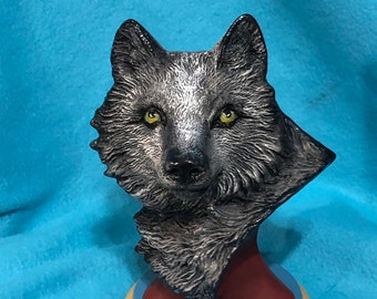 Wolf Bust with Base