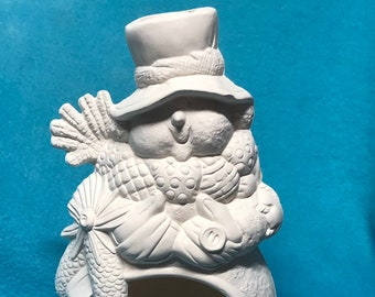 Snowman Candle Holder Ceramic Bisque
