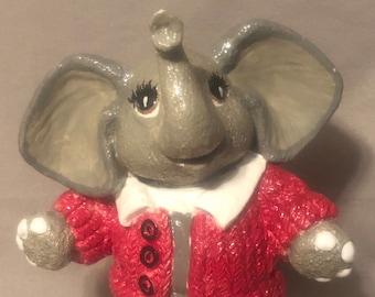 Glazed Elephant Ceramic Art