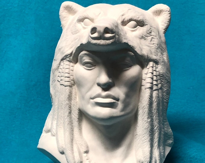 Indian with Bear Ceramic Bisque