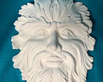 Green Man Mask Ceramic Bisque