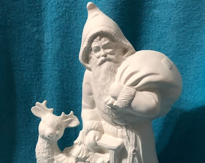 Vintage Old Time Sant with Deer Ceramic Bisque ready to paint