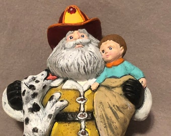 Fireman Santa Ceramic Art
