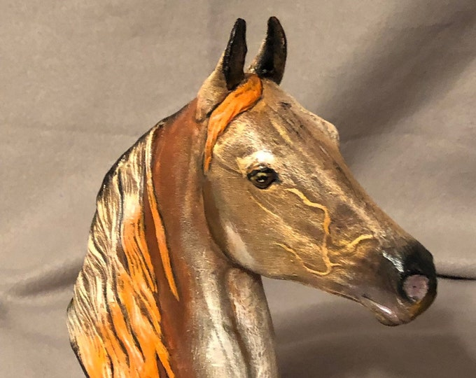 Horse Bust with Base Ceramic Art