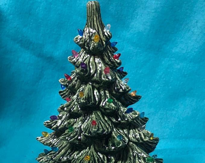 Ceramic Christmas Tree bluegrass green with multicolor light pack glazed white base