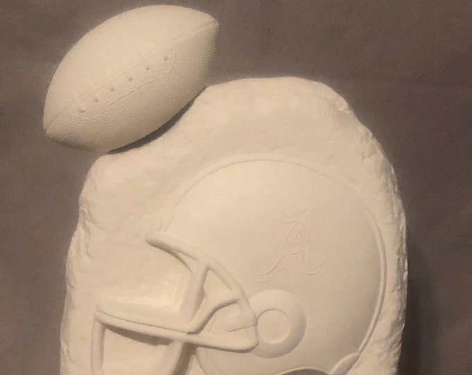 Stone Football Plaque made of Ceramic with football ready to paint