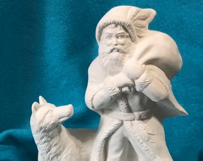 Old Time Santa with Wolf Ceramic Bisque