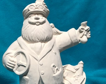 Racing Santa Ceramic Bisque