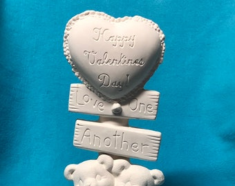 Bears Valentine Post Ceramic Bisque
