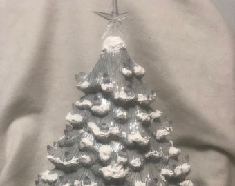 Glazed Sheer Blue With Mother of Pearl and Snow Mantle Christmas Tree with clear ligthts and star