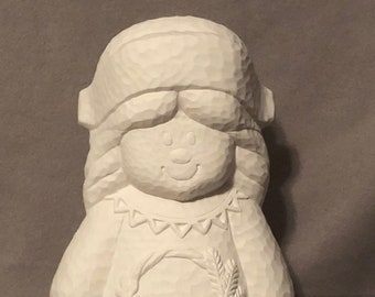 Clay Magic Girl Scarecrow Pilgrim Ceramic Bisque ready to paint with hammered finished