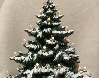 Green Glazed Frazier Fir Christmas Tree with Snow