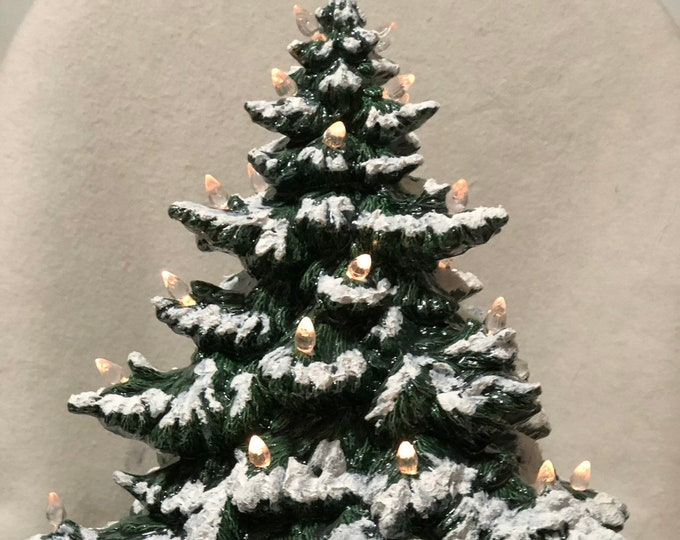 Featured listing image: Green Glazed Frazier Fir Christmas Tree with Snow