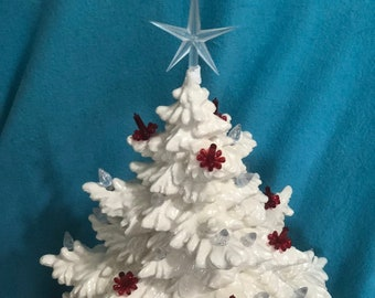 Milk Glass Glazed Frazier Fir Christmas Tree with Clear Lights, Red Candle Lights and a Clear Star and Laced Base