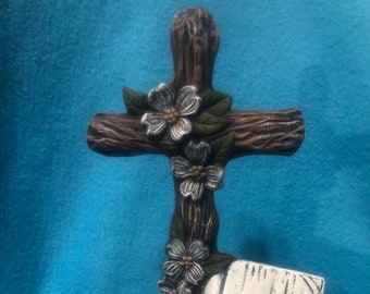 Ceramic Dogwood Cross Votive Candle Holder with Bible